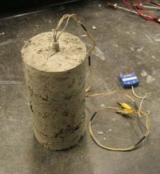 Laboratory thermal resistivity measurements of a soil sample.
