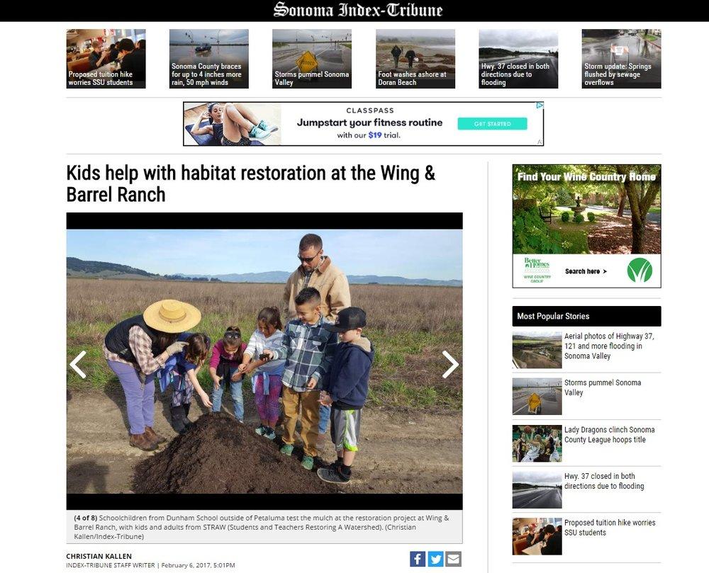 Sonoma Index Tribune | Kids help with habitat restoration at Wing & Barrel Ranch
