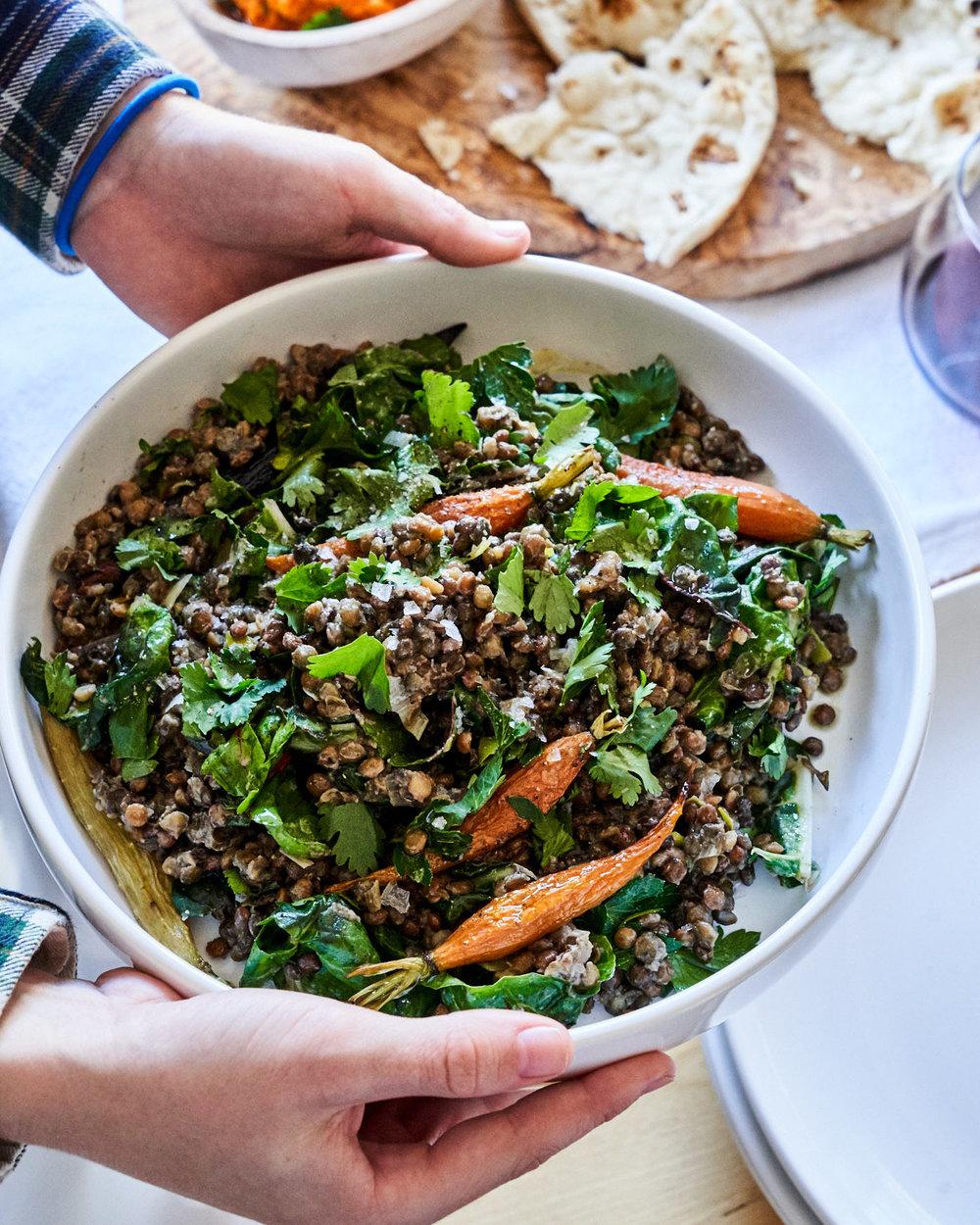 Warm+Lentil+Roasted+Carrot+Herb+Salad