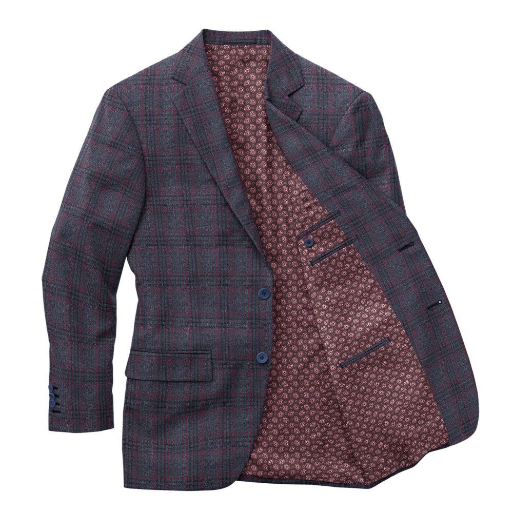 Charcoal with Burgundy Plaid Sport Jacket