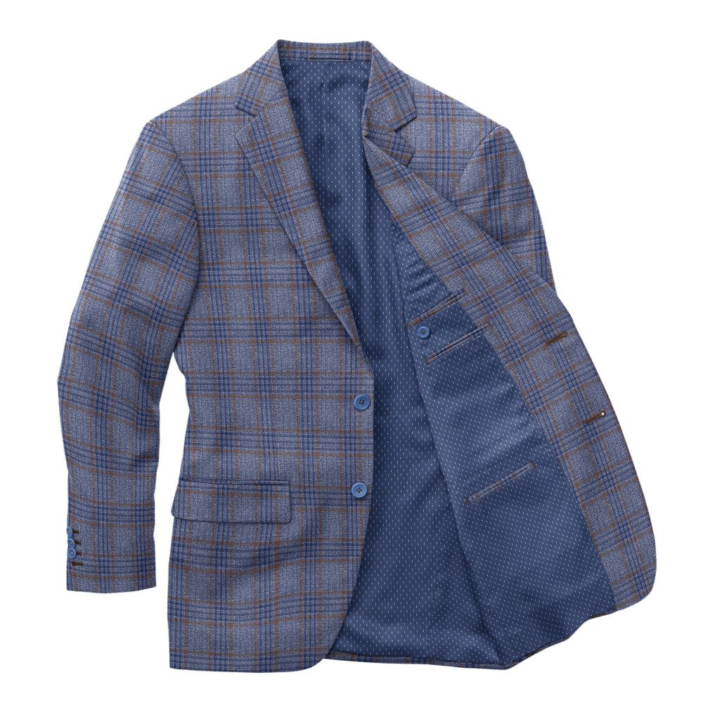 Blue with Brown Plaid Sport Jacket