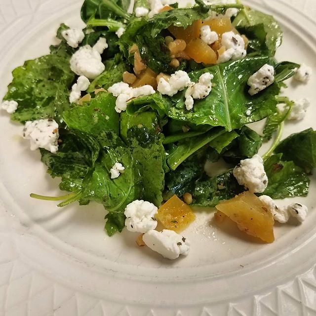 Baby kale, yellow beets, toasted walnuts, and goat cheese with lemon and EVOO. #RVA #fresh #salad #veggies #amici  @804eats @804food @therichmondexperience @weareredpaint @ilovecarytown @rvadine @rvaexclusives @eatrichmond