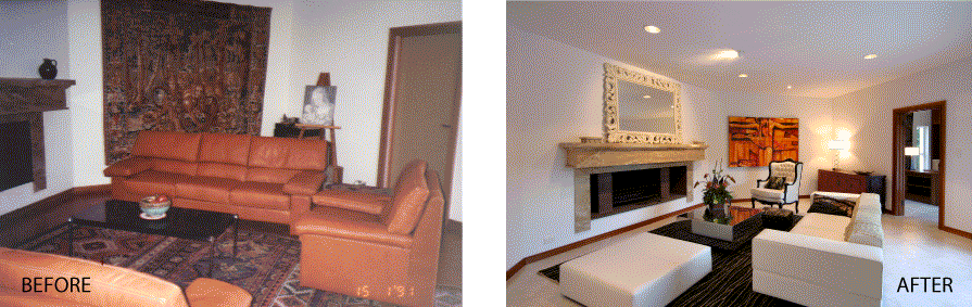 Example of a room before and after staging