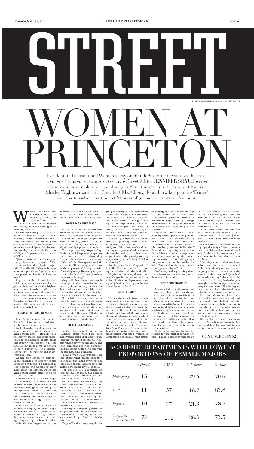 Female students in Princeton University's most male-dominated academic departments in Street section of The Daily Princetonian
