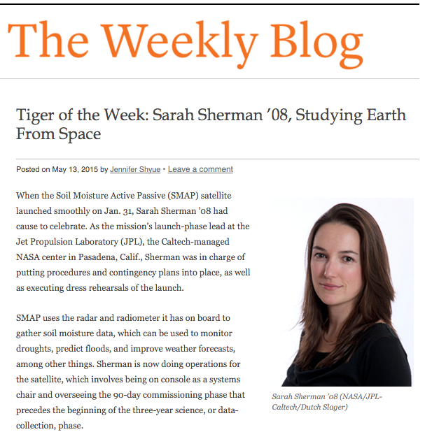 Princeton University alumna and Tiger of the Week Sarah Sherman in Weekly Blog of Princeton Alumni Weekly