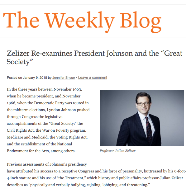 Princeton University history and public affairs professor Julian Zelizer's book on Lyndon Johson, The Fierce Urgency of Now, in Weekly Blog of Princeton Alumni Weekly