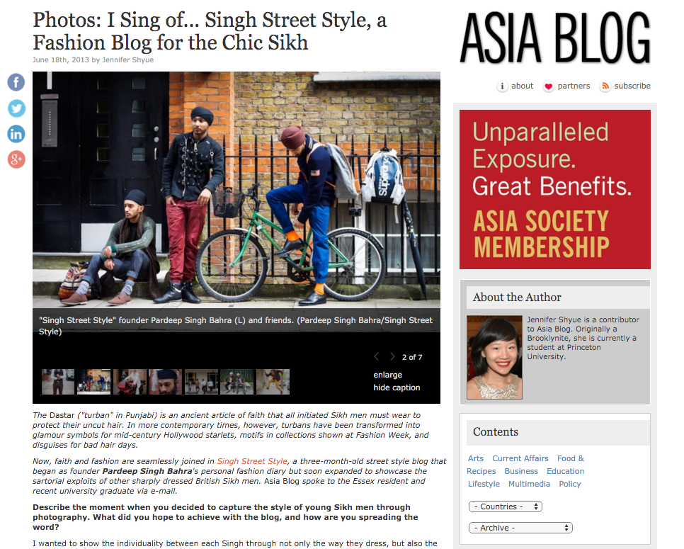 Singh Street Style, street style blog featuring fashionable London Sikh men, in Asia Blog of Asia Society