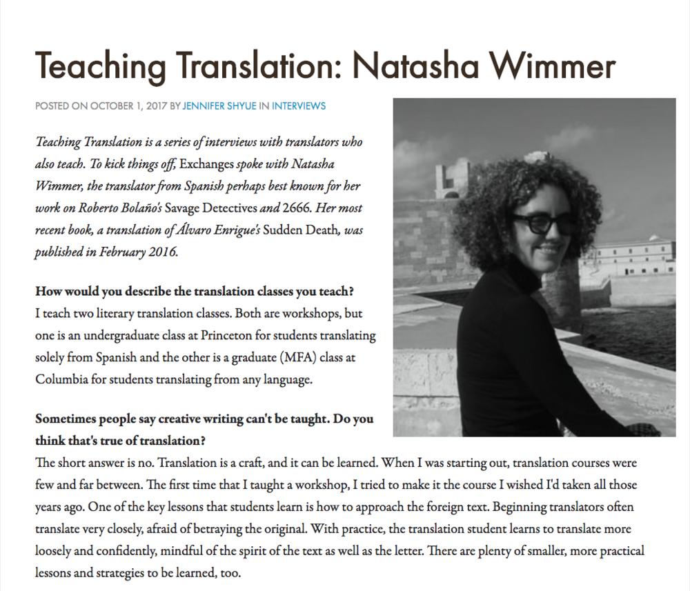 Exchanges | Teaching Translation: Natasha Wimmer.png