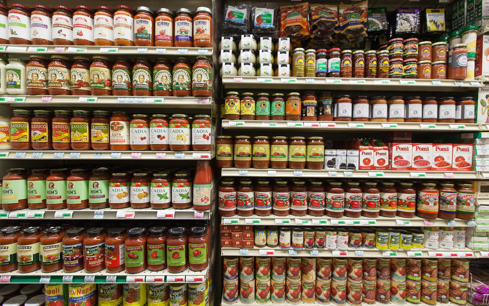 Marinara and Pasta Sauce Section of Mana Foods Grocery Department