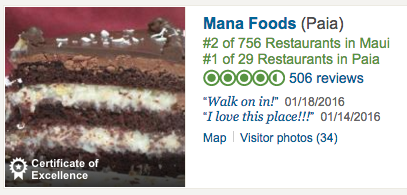 Trip Advisor Ranks Mana Foods Best Restaurant on Maui 2016