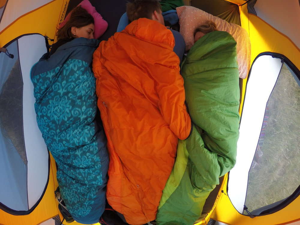 My sleeping bag is the green on the far right. The blue sleeping bag ( c85f10bfac