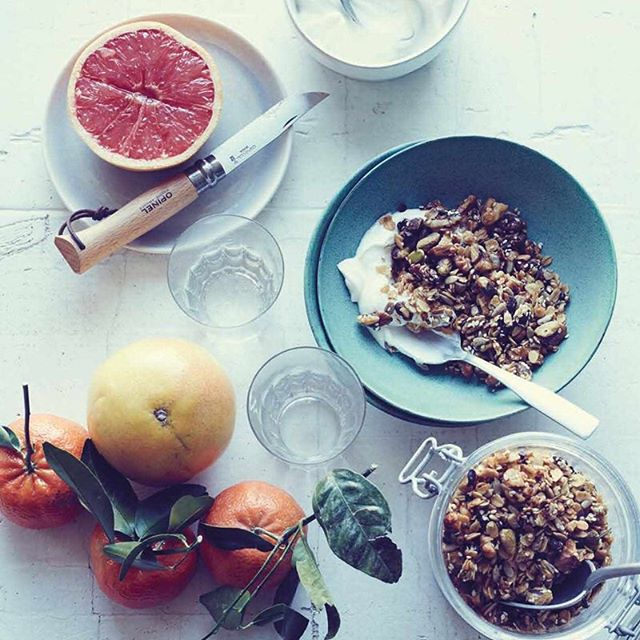 A perfect day off late breakfast. Savory Granola from @laurasanttini's #Umami at Home #cookbook made w oats, pistachios, walnuts, sunflower seeds, sesame, fennel, coriander, cacao, cayenne, salt, rosemary, lemon zest, olive oil, maple syrup, soy sauce. #foodstyling: @simoncooks 📷 @conpoulos #eeeeeats #buzzfeast #breakfast