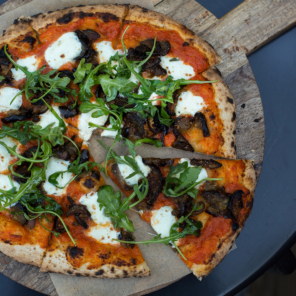 Charred Eggplant, Red Pepper Pesto & Arugula Pizza