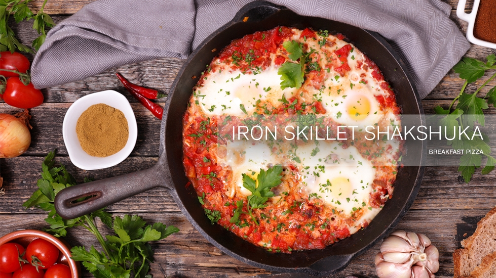 Iron Skillet Shakshuka Breakfast Pizza