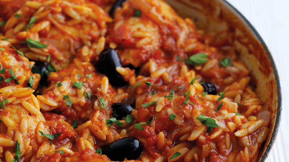 Chicken, Olive and Orzo Bake
