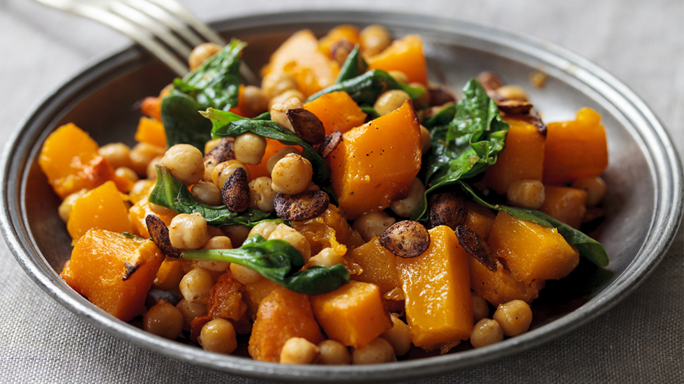 Roast Butternut Squash, Chickpea & Spinach Bowl