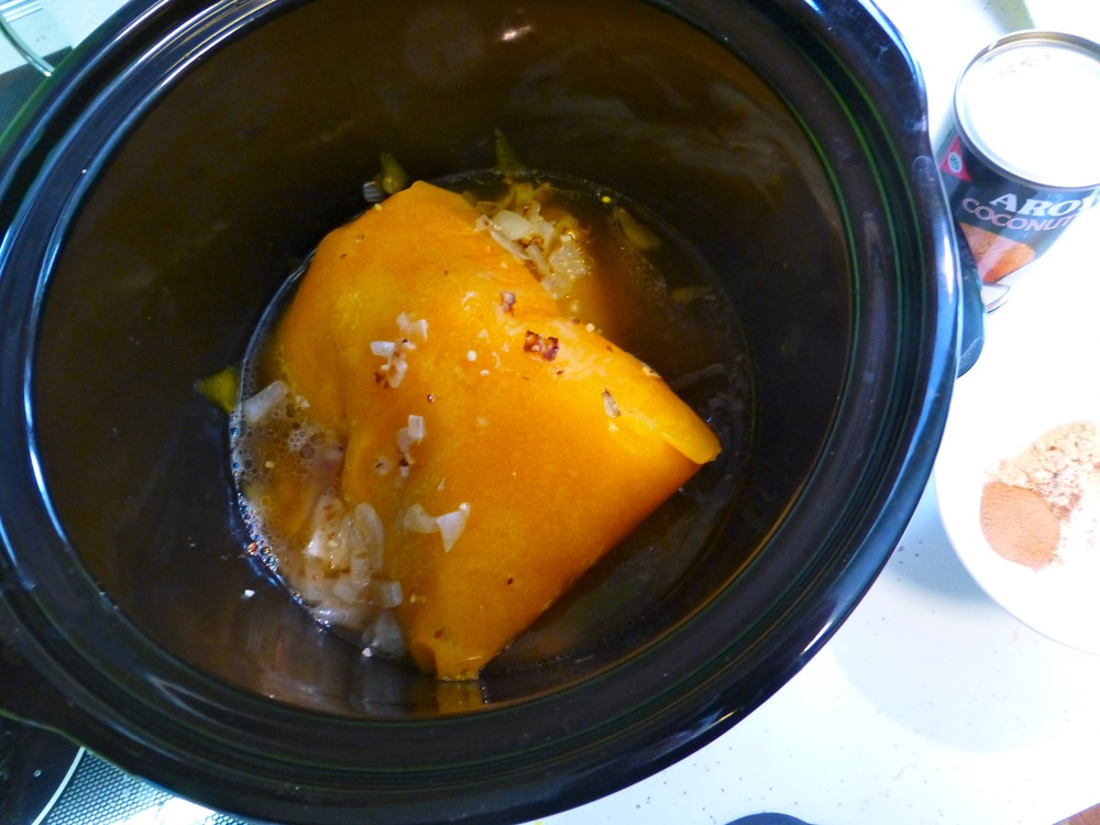 The pumpkin is still a bit frozen here - took about 30 minutes to dissolve into the chicken stock