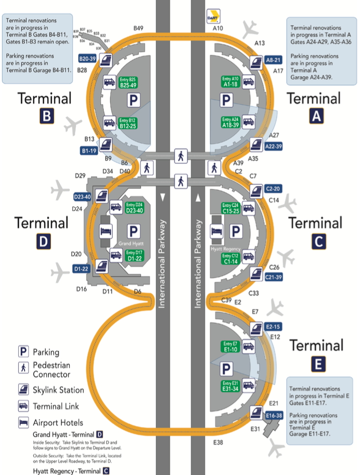 Click on image to open the DFW Airport terminal information guide (DFW Airport)