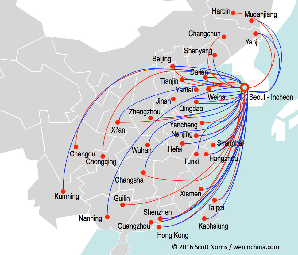 Asiana (in red) and Korean Air (in blue) combined offer outstanding access to interior China; most of these cities can be reached with same-day connections from North America.