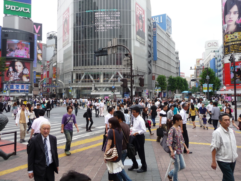 "Tokyo's famous Shibuya ""Scramble crossing"" - five streets, plus a busy metro station, dozens of buses, and multiple shopping arcades. Said to be the busiest single spot on Earth - incredible for people-watching ... from a safe distance."