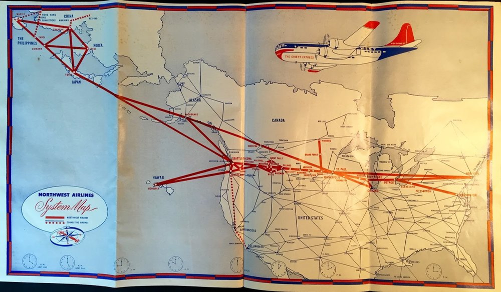 "The timetable's centerfold map - featuring their flagship Boeing 377 Stratocruiser ""Orient Express"""