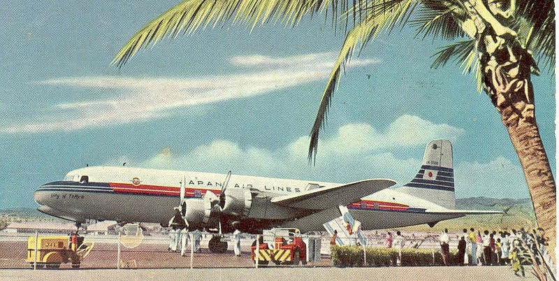 JAL postcard from the 1950s showing the DC-6.