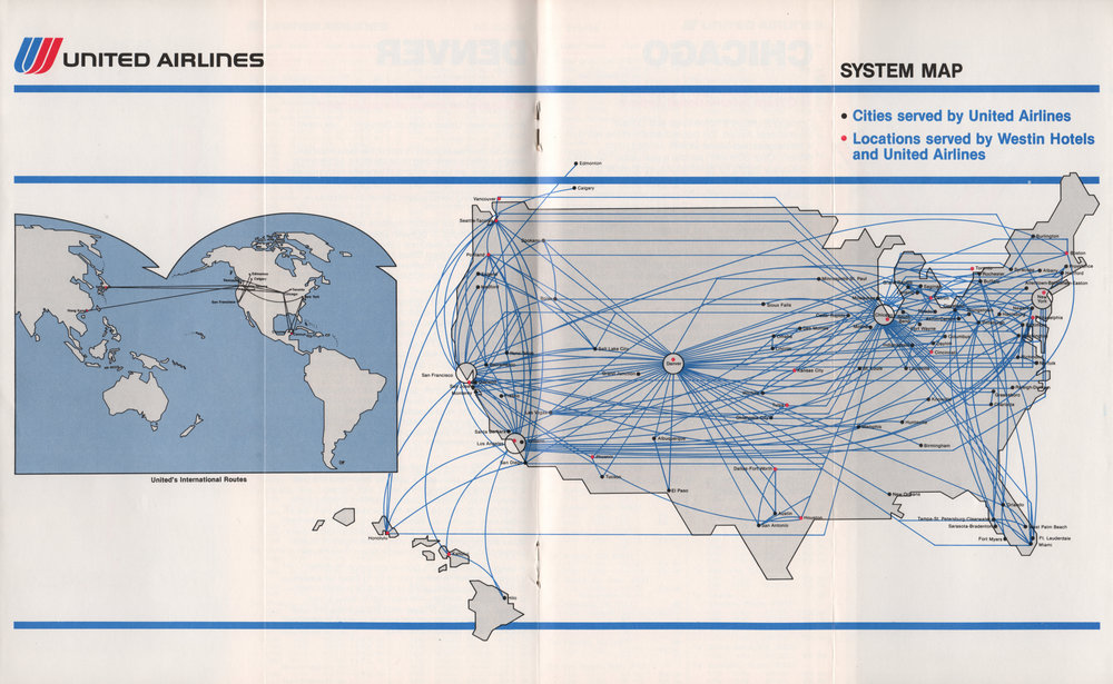 1983 route map - note the co-promotion of Westin Hotels