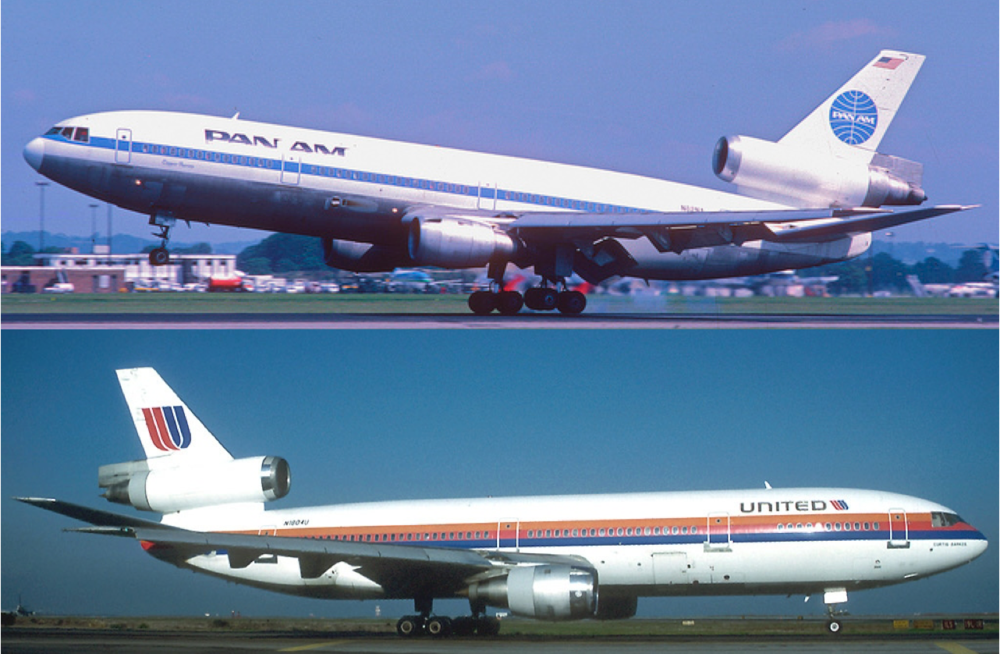 Composite image; Pan Am DC-10 by Aero Icarus via Flickr, CC 2.0 license, and United DC-10 by Alain Durand, GNU 1.2 license