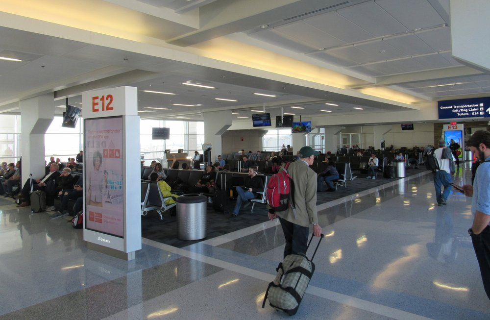 Terminal E is undergoing renovation in 2017, and this is an example of a completed gate - a real upgrade compared to the Terminal C gates...