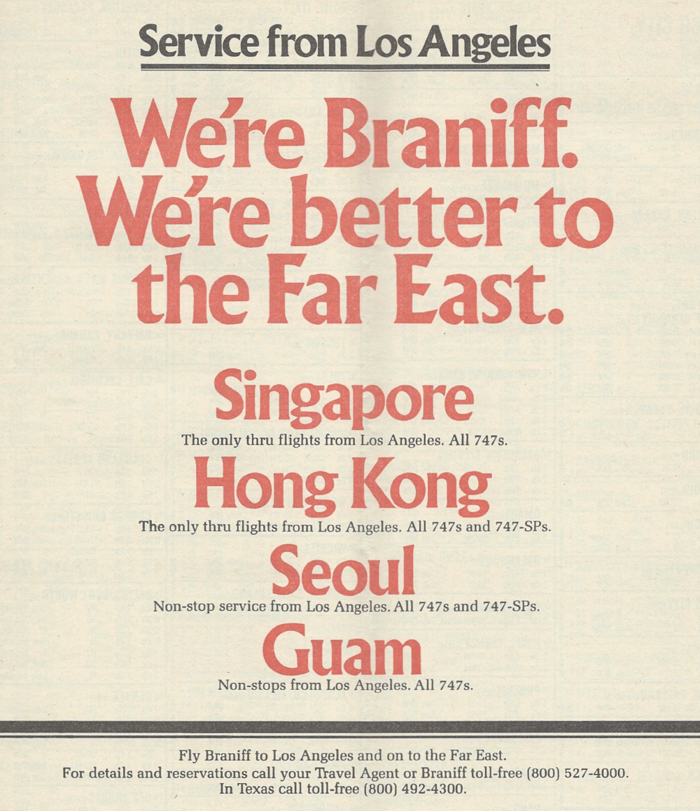 Advertisement in the January 1, 1980 Braniff system timetable