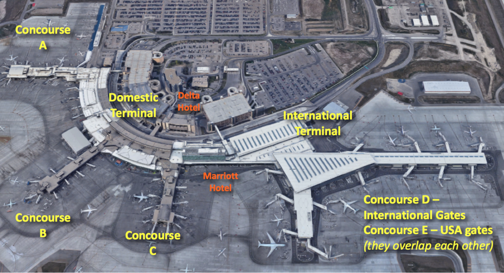 Map created with Google Earth photo imagery. Click on image to open airport maps on the YYC website.