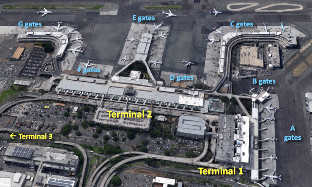 Image composed using Google Maps.   Click on the diagram above to open the Honolulu Airport's map page