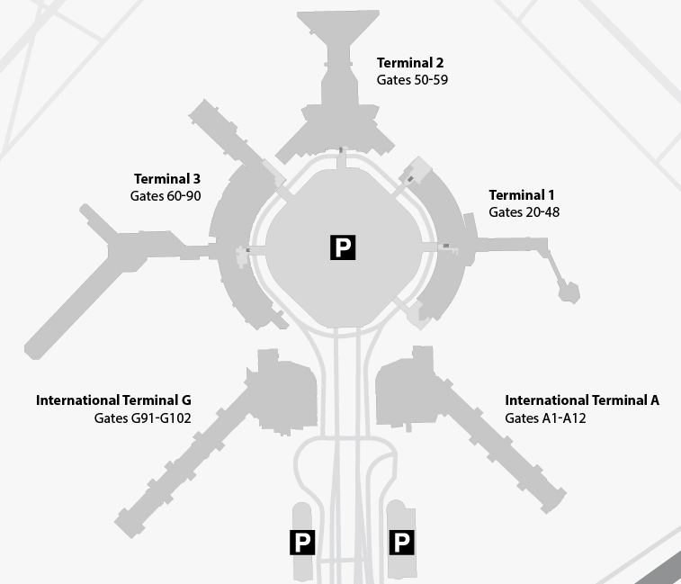 Click on this graphic to open the SFO Airport map page (San Francisco International Airport)