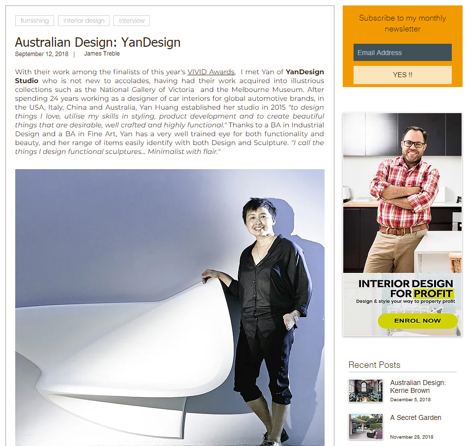 James Treble blog 12/9/2018 . https://www.jamestreble.com/single-post/2018/09/12/Australian-Design-YanDesign-1