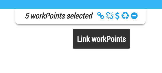 The Link button appears when multiple workpoints are selected and the FloorPlan is unlocked