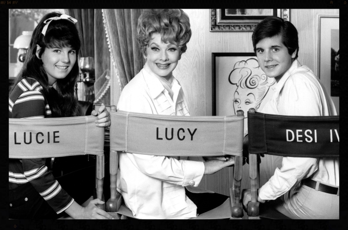 "Lucie and her co-stars in ""Here's Lucy."""