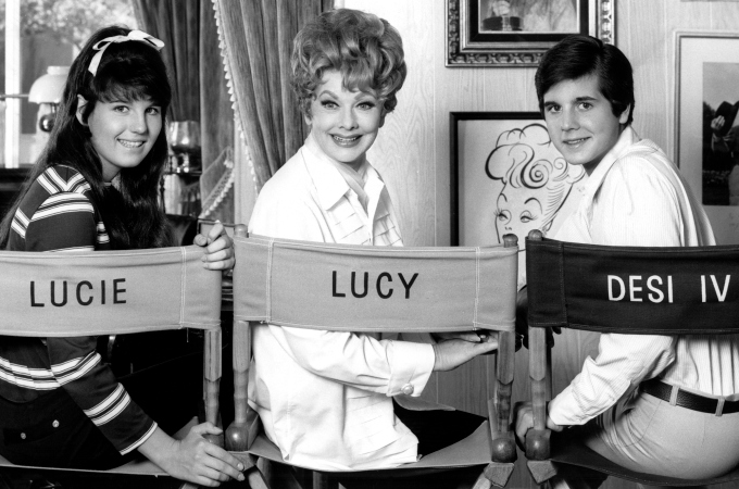 "Lucie, Lucille Ball and Desi Arnaz, Jr, in a promo shot for ""Here's Lucy."""
