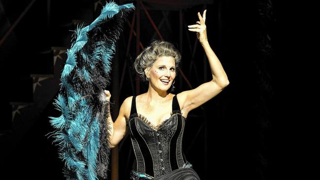 Lucie Arnaz flying high as Berthe in the national touring company of Pippin.