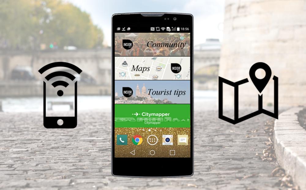 Smartphone features - 4G data, WIFI hotspot, digital maps, community of friendly parisians