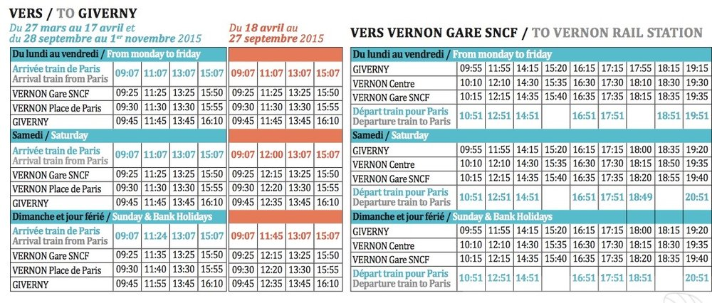 Giverny Shuttle Timetable