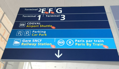 "Follow the ""Paris by train"" sign at CDG to get to the train station"