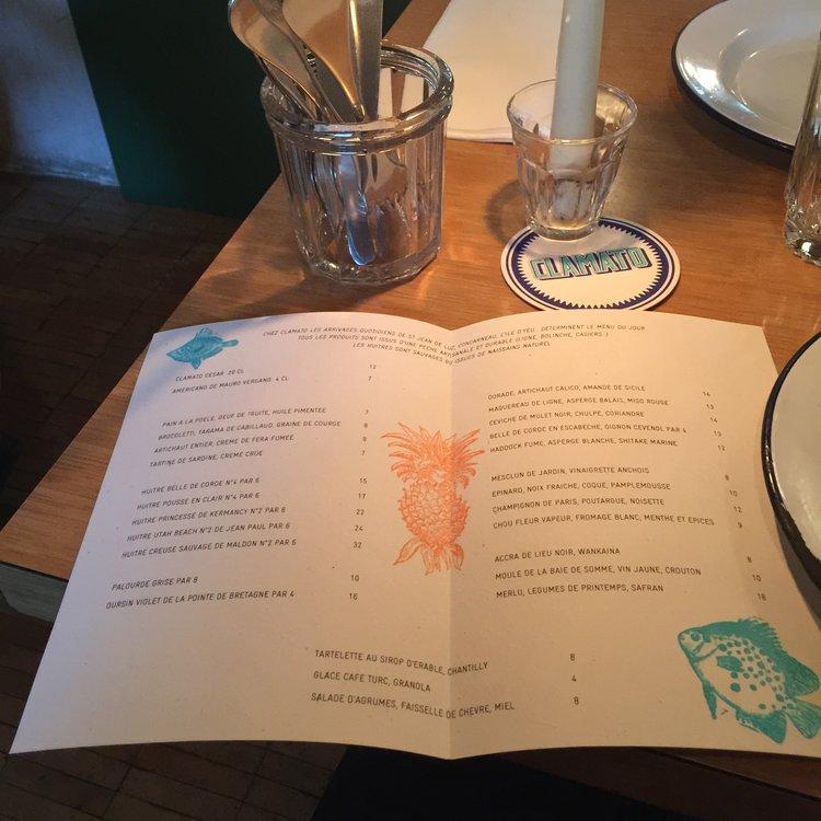 เมนูของร้านอาหาร Clamato ที่เปลี่ยนทุกวัน - รูปภาพจาก : INSIDR paris