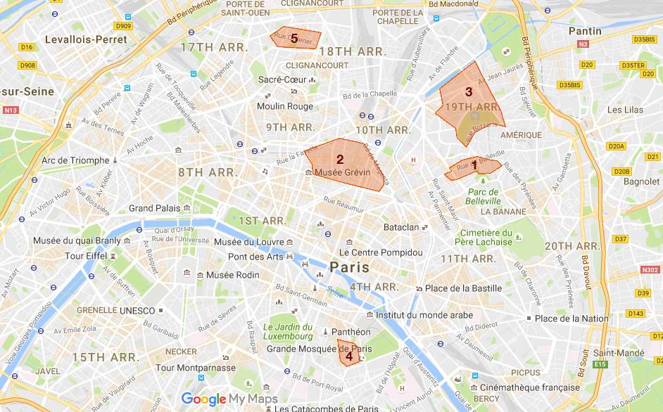 Staying in Paris on a budget map