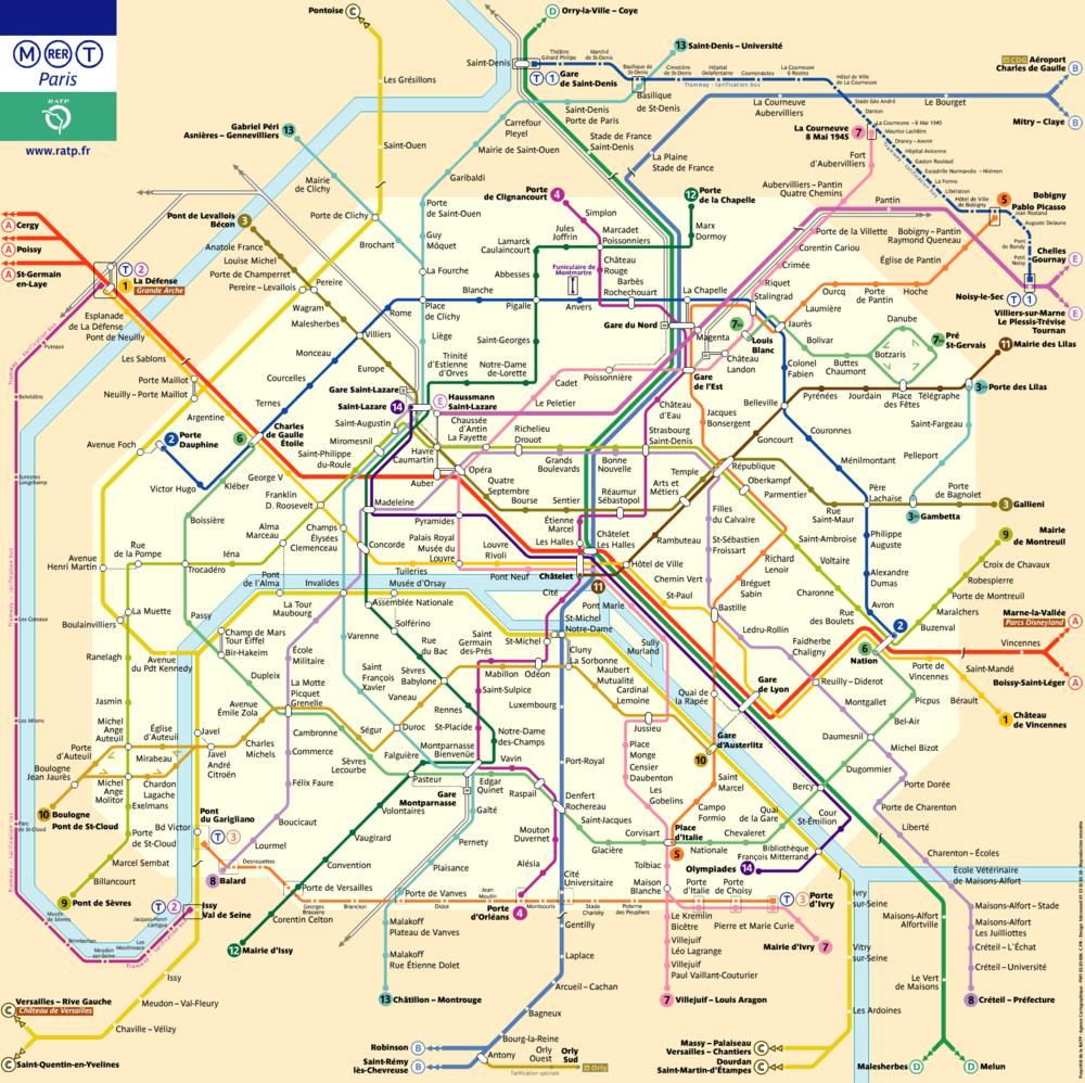 巴黎交通分圈 - 巴黎地鐵圖