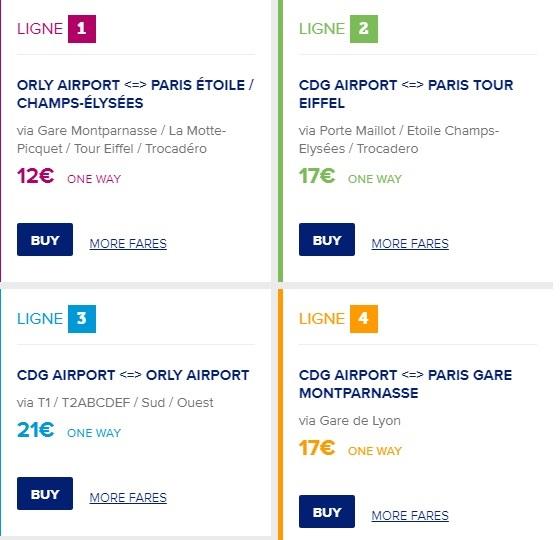 ราคาตั๋วของรถบัสแต่ละสายของLe Bus Direct -รูปภาพจาก© en.lebusdirect.com