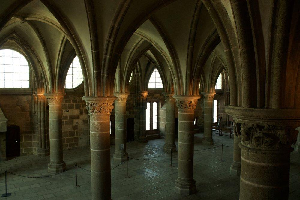 Mont Saint-Michel abbey interior