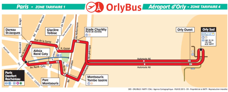 OrlyBus 奧利機場直通巴士 路線圖