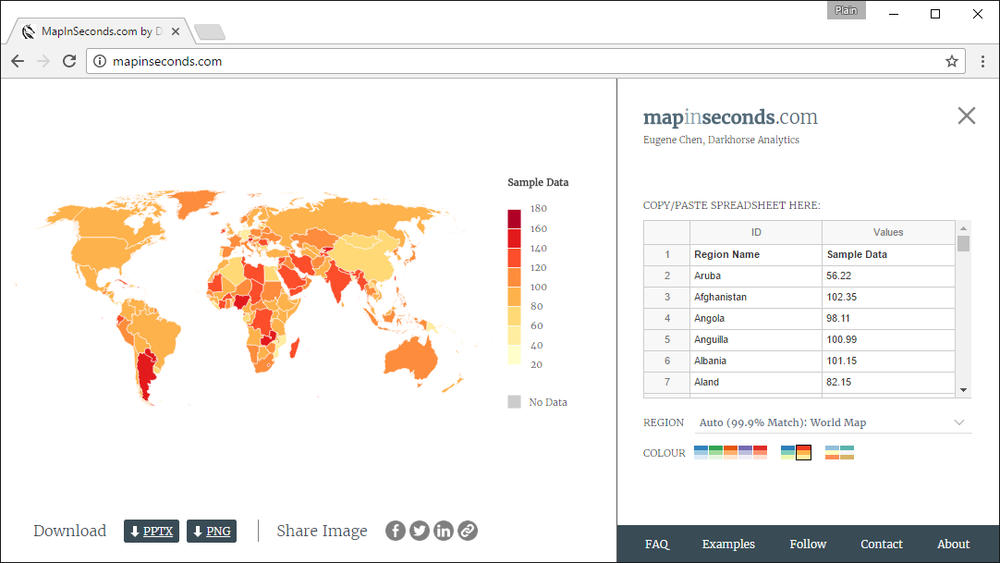 Our tool makes creating area-value maps, otherwise known as choropleth maps, a quick and easy process.