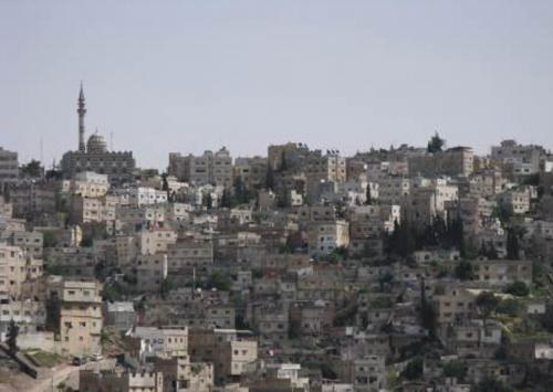 View of Abu Darweesh Mosque and its surroundings taken from the Amman Citadel.   لقطة لمسجد أبو درويش والمنطقة المحيطة به مأخوذة من جبل القلعة