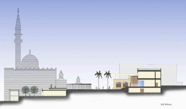 North – South section of the plaza cutting through the retractable theater and the panoramic lookout space. مقطع يمتد من الشمال إلى الجنوب ويمر عبر المسرح والمساحة المطلة على المدينة